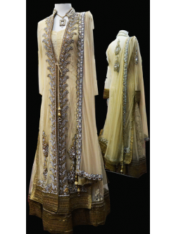 Bridal Antique Gold Gown Style Suit