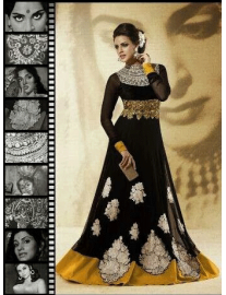 Designer Black Gown with Churidar
