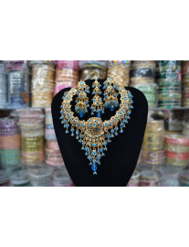 One Carat Gold Turquoise Blue Jewelry Set