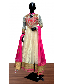 Lace and Net Suit with Churidar