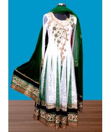 White Net Churidar Suit