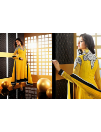 Designer Yellow Georgette Brasso Suit