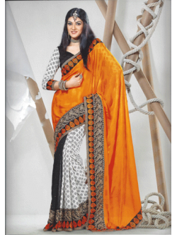 Orange Crepe and Embose Saree