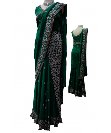 Hunter Green Saree