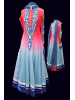 Red and Grey Shaded Anarkali Churidar Suit