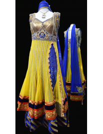 Yellow & Royal Blue Long Anarkali Churidar Suit