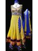 Yellow & Royal Blue Long Anarkali Churidar Suit